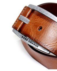 BOSS - Brown Bakaba Leather Belt for Men - Lyst