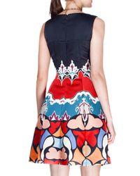Etro - Black Sleeveless Geometric-print Duchess Satin Dress - Lyst
