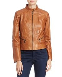 Bernardo | Brown Stitched-detail Leather Jacket | Lyst