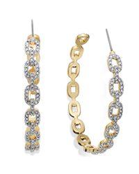 Juicy Couture - Metallic Goldtone Pave Link C Hoop Earrings - Lyst