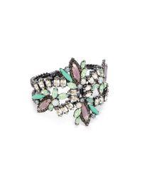 Elizabeth Cole - Purple Navette Hinge Cuff Bracelet Mintlavenderclear - Lyst