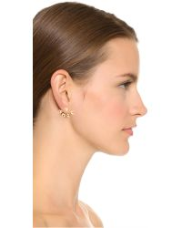 Venessa Arizaga | Metallic Heart 4 Prong Earrings - Gold | Lyst