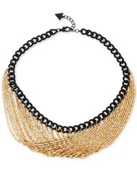 Guess | Black Two-tone Link Chain Necklace | Lyst