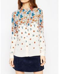 ASOS - Blue Placement Print Ditsy Floral Blouse - Lyst
