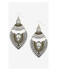 Express | Black Beaded Teardrop Dangle Earrings | Lyst