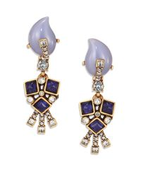 Oscar de la Renta | Blue Flower Clip-on Drop Earrings | Lyst