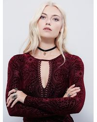Free People - Red Womens Velvet City Limits Top - Lyst