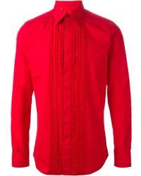 Dolce & Gabbana - Red Ruffle Detail Shirt for Men - Lyst