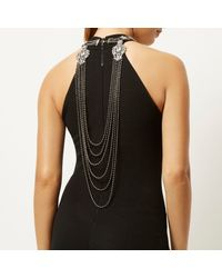 River Island | Metallic Silver Tone Tassel Front And Back Necklace | Lyst