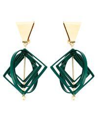 MSGM | Green Geometric Clip-on Earrings | Lyst