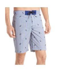 Izod - Blue Striped Anchor Board Shorts for Men - Lyst