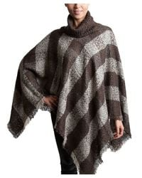 Bungalow 20 - Natural Plaid Turtleneck Poncho In Mushroom And Gray - Lyst