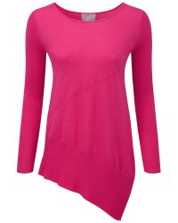 Pure Collection Pink Lairdale Featherweight Cashmere Seamed Sweater