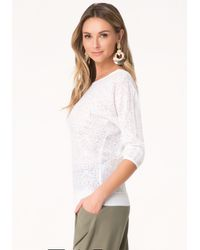 Bebe - White Laser Cut Sweater - Lyst