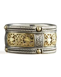 Konstantino - Metallic Silver Gold Lace Band Ring - Lyst