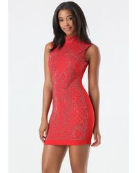Bebe - Red Embellished Mock Neck Dress - Lyst