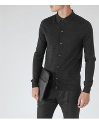 Reiss - Gray Oracle Merino Wool Polo Shirt for Men - Lyst