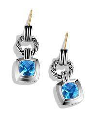 David Yurman - Metallic Renaissance Drop Earrings With Blue Topaz - Lyst