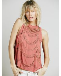 Free People - Red Womens Mock Neck Embellished Tank - Lyst