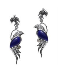 Aeravida | Metallic Mythical Phoenix Bird Blue Lapis Wing Marcasite .925 Silver Earrings | Lyst