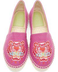 KENZO - Pink Magenta Embroidered Tiger Espadrilles - Lyst
