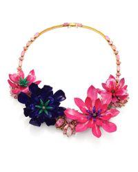 Erickson Beamon - Pink Floral Statement Necklace - Lyst