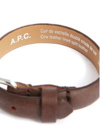 A.P.C. | Paris Brown Leather Bracelet With Buckle Clasp for Men | Lyst