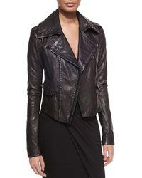Donna Karan - Black Asymmetric Leather Moto Jacket - Lyst