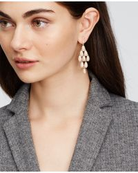 Ann Taylor | Metallic Pave Teardrop Chandelier Earrings | Lyst