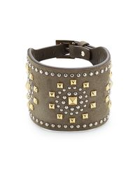 Valentino | Embellished Suede Cuff - Green | Lyst