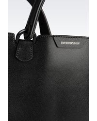 Emporio Armani - Black Shopping Bag In Saffiano Calfskin - Lyst