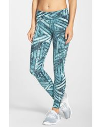 Reebok - Blue 'one Series' Graphic Print Leggings - Lyst