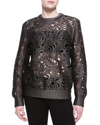 Alexander Wang - Black Laser-cut Oversized Crewneck Sweater - Lyst
