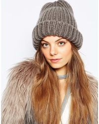 Pieces - Gray Chunky Knit Beanie Hat - Lyst