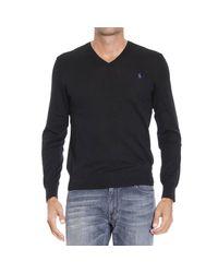 Polo Ralph Lauren - Black Sweater Merino V Slim Fit for Men - Lyst