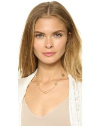 Tory Burch | Metallic Perforated Charm Three-strand Necklace | Lyst