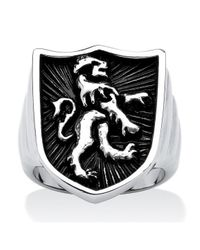 Palmbeach Jewelry | Metallic Men's Lion Shield Coat Of Arms Ring In Antiqued Stainless Steel Finish for Men | Lyst