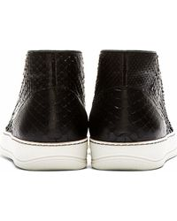 Lanvin - Black Python Leather Sneakers for Men - Lyst
