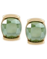 Kenneth Cole - Green Gold-tone Stone Stud Earrings - Lyst