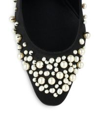 Giambattista Valli - Black Satin Faux Pearl-embellished Pumps - Lyst