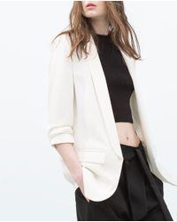 Zara | Natural Crepe Blazer | Lyst