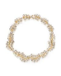 Kenneth Jay Lane | Metallic Crystal Leaf Necklace | Lyst