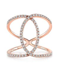 Anne Sisteron - Pink 14kt Rose Gold Diamond Cigar Band Ring - Lyst