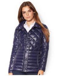 Lauren by Ralph Lauren - Blue Quilted Packable Down Barn Jacket - Lyst