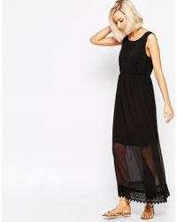 Vero Moda - White Boho Lace Detail Maxi Dress - Lyst