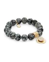 R.j. Graziano | Black Semi-precious Beaded Stretch Bracelet | Lyst