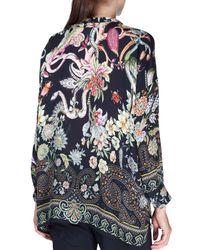 Etro - Black Long-sleeve Animal-paisley Silk Blouse - Lyst