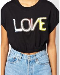 Glamorous - Black Glamourous Crop Love Tee - Lyst