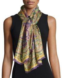 Etro | Purple Sciarpa Calcutta Paisley/floral Metallic Scarf | Lyst