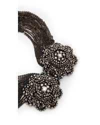 Vera Wang Collection - Gray Draped Flower Necklace Smoke - Lyst